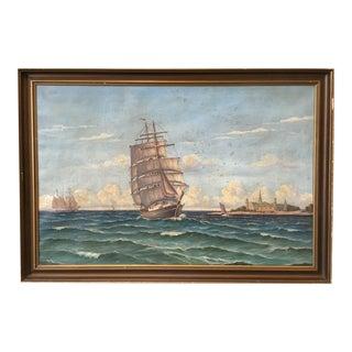 Swedish Oil Painting of Sailing Ships