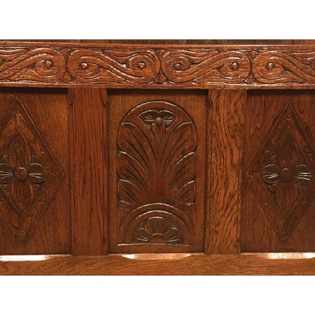 1960s Vintage Carved Oak Coffer For Sale In Chicago - Image 6 of 10
