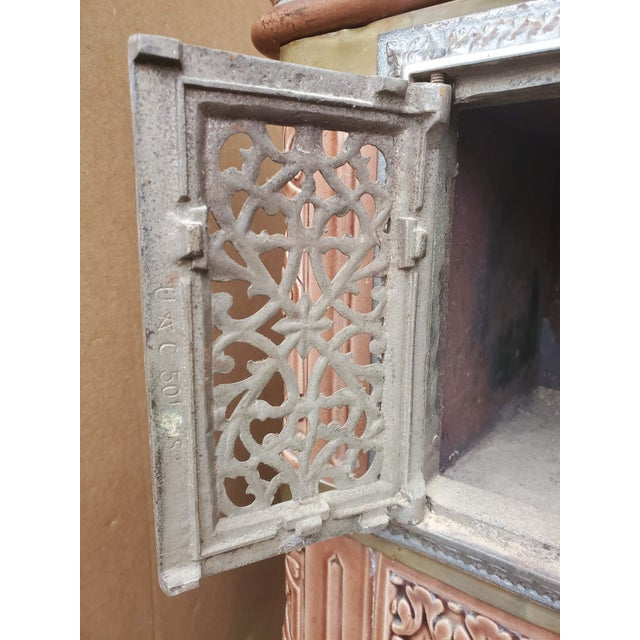 19th Century French Sarreguemines Ceramic Tile Heating Stove For Sale In Dallas - Image 6 of 12