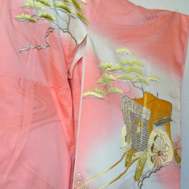 Mid 20th Century Gold Embroidery Japanese Silk Kimono For Sale - Image 5 of 7
