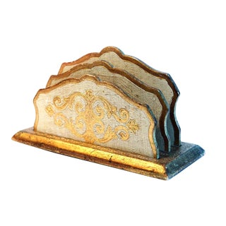 Vintage Florentine Gold & White Letter Holder