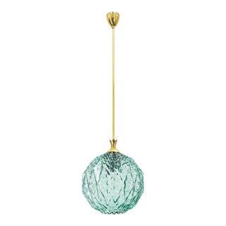 Unique Italian Textured Glass and Brass Pendant, circa 1960