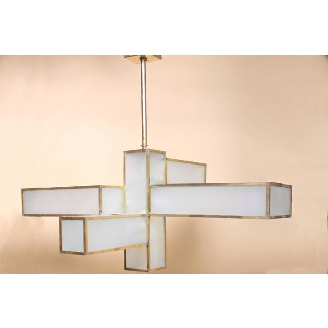 Modern Geometric Chandelier Attributed to Jean Perzel For Sale - Image 3 of 10