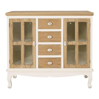 1910s Farmhouse Shabby Chic Rustic Sideboard Cupboard with Rose Handles For Sale