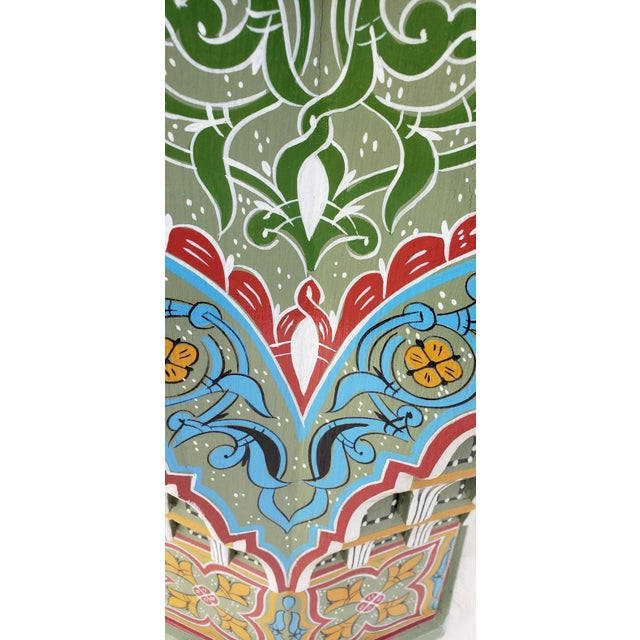 Moroccan Ceuta Painted and Carved Star Table For Sale - Image 4 of 7