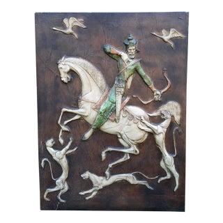 Vintage Don Quixote Battling Lions Sculptural Fiberglass Wall Art For Sale