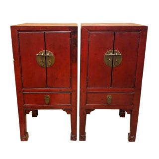 Antique Chinese Red Lacquer Cabinets - a Pair For Sale