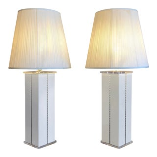 1980s Lucite Optique Square White Column Lamps - a Pair For Sale