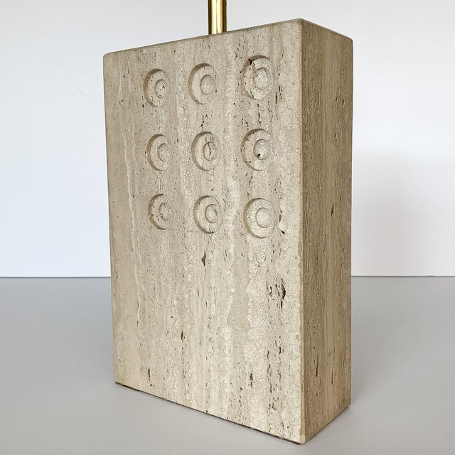 Gold Italian Travertine Table Lamp by Reggiani for Raymor For Sale - Image 8 of 12