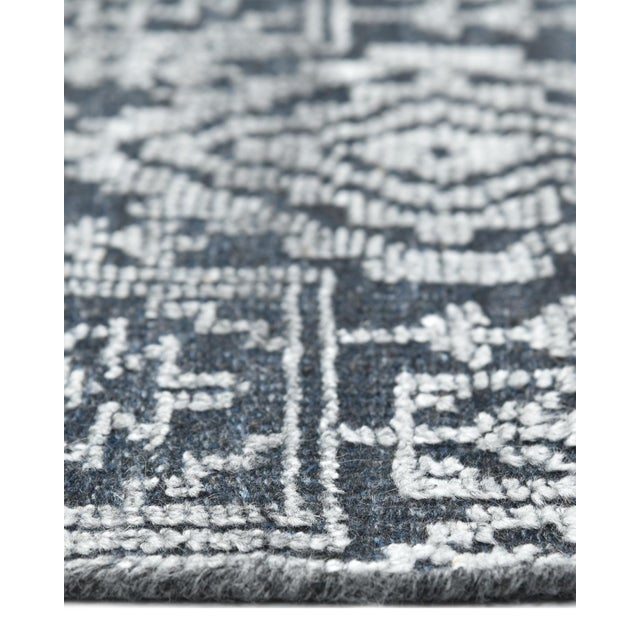 Textile Quinn, Contemporary Transitional Hand-Knotted Runner Rug, Navy, 2' 6 X 8 For Sale - Image 7 of 8