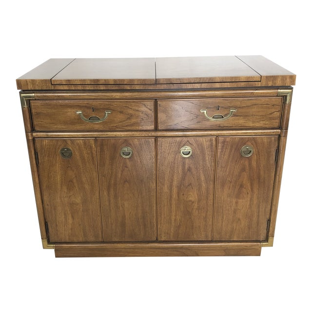 Drexel Campaign Fruitwood & Brass Bar Cabinet For Sale