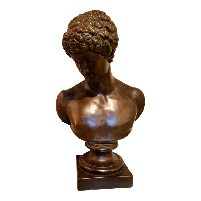 Ceramic Bust of Antinous, Lover of Emperor Hadrian For Sale