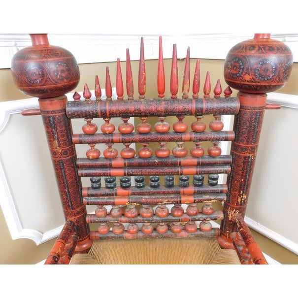 Antique Indian Sankheda Red Lacquered Armchair - Image 7 of 10