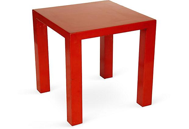 Genial Red Lacquer Side Table   Image 3 Of 3