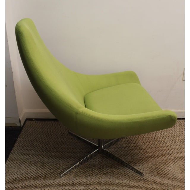 Mid-Century Lime Green Swivel Lounge Chair & Ottoman - Image 10 of 11