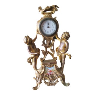 Late 19th Century Art Nouveau Cherub Putti Clock in Gold Gilt Bronze Made in Germany For Sale