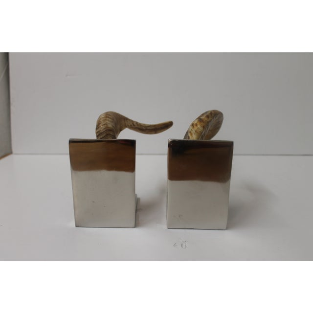 Horn Bookends on Steel Bases - Image 5 of 7