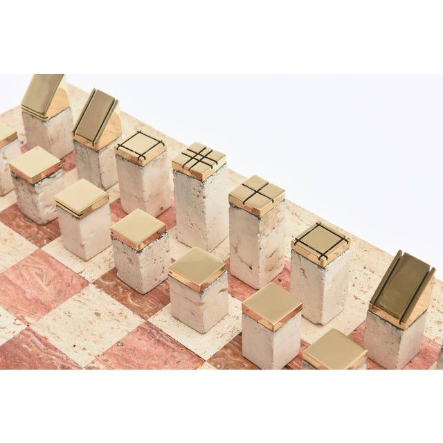 Mid-Century Modern Italian Vintage Travertine and Brass Modernist Chess Set For Sale - Image 3 of 10