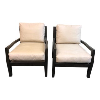 Kreiss Suede Lounge Chairs - A Pair For Sale