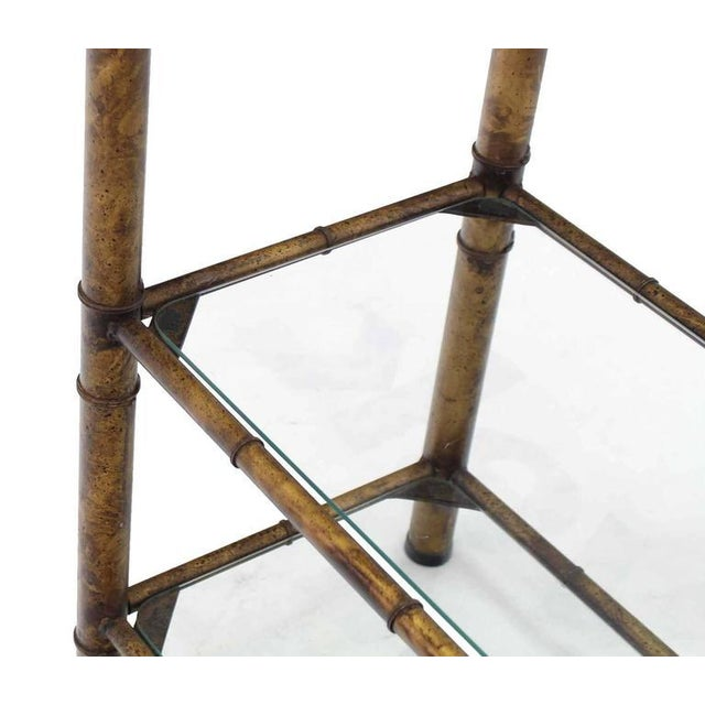 Wood Metal Faux Bamboo Shelf For Sale - Image 7 of 7