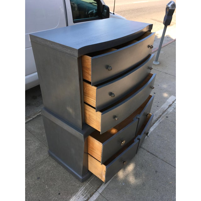 Gray 1940s Vintage Grey Mahogany Highboy For Sale - Image 8 of 13