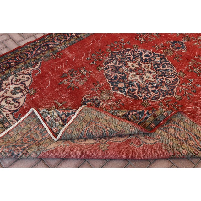 "Vintage Turkish Medallion Oushak Rug - 7'1"" X 9'10"" - Image 6 of 7"