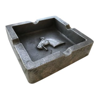 Mid-Century Modern Equestrian Theme Ashtray in Pewter For Sale