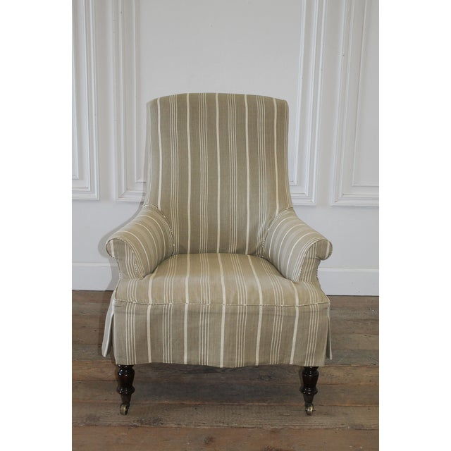 Napoleon Style Linen Stripe Slip Cover Chair and Ottoman For Sale - Image 4 of 12