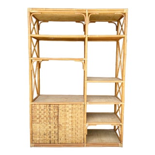 Large Bamboo, Rattan & Grasscloth Bookcase For Sale