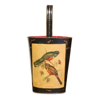 Mid-Century French Hand Painted and Gilt Tole Basket With Bird Decor For Sale