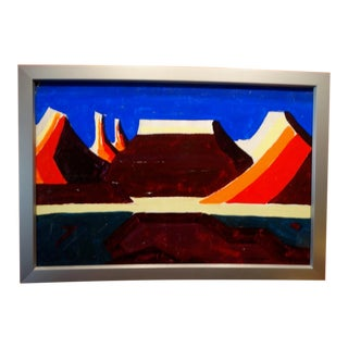 Conrad Buff Mid-Century Desert Landscape Oil Painting on Board For Sale