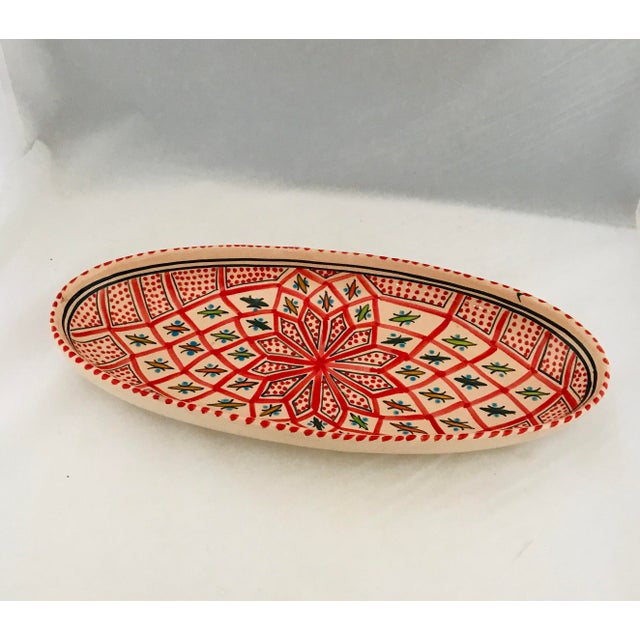1970s Vintage Terra Cotta Mexican Painted Dish Server For Sale - Image 5 of 10