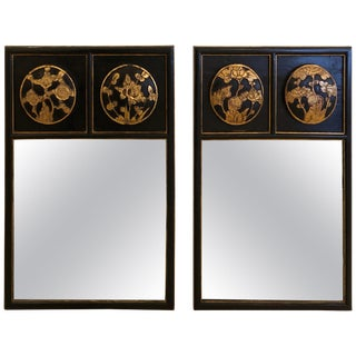 Pair of Japanese Style Black and Gold Mirrors For Sale