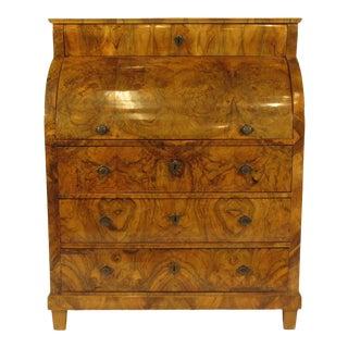 19th-C. Biedermeier Cylinder Secretary Desk For Sale