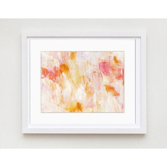 Original Frothee Modern Abstract Peach, Yellow & White Matted Impasto Acrylic Painting - Image 3 of 4
