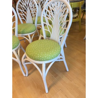 1970s Vintage Rattan High Gloss White Dining Chairs-Set of 6 Preview