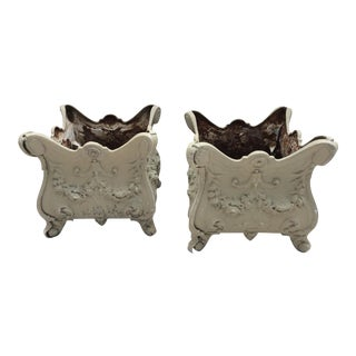 Antique French Style Cast Iron Planters - A Pair For Sale