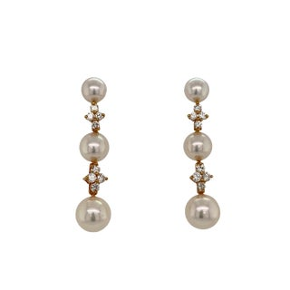 Tiffany & Co. 18k Gold Cultured Pearl & Diamond Drop Earrings For Sale