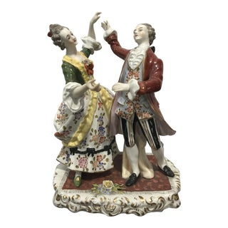 Antique Capodimonte Couple Porcelain Figurine N Crown Mark For Sale