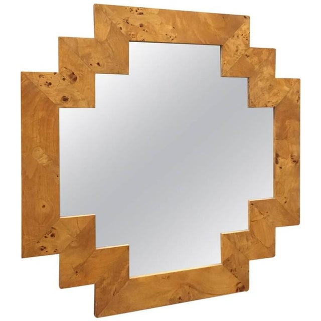 Milo Baughman Geometric Italian Burl Mirror Style of Milo Baughman For Sale - Image 4 of 4