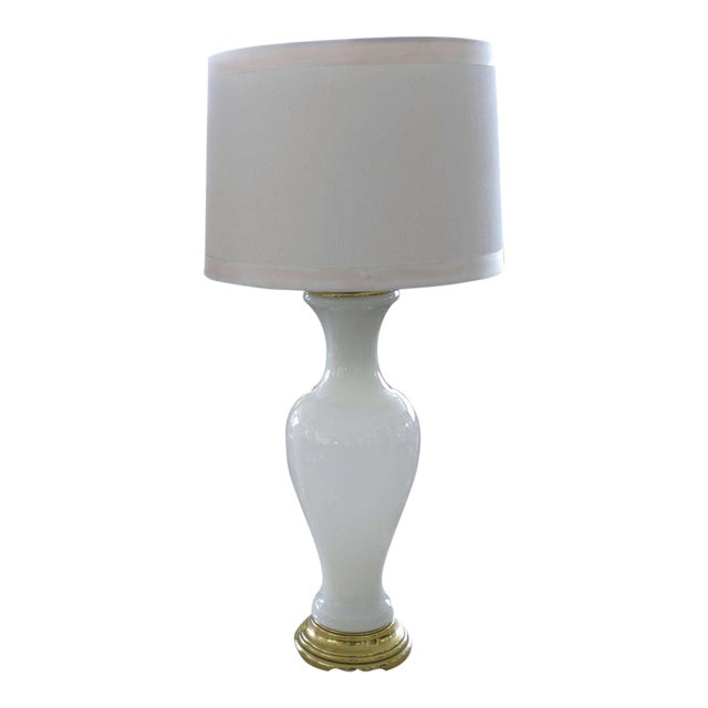 Elegant French 1960's White Opaline Baluster-Form Glass Lamp For Sale
