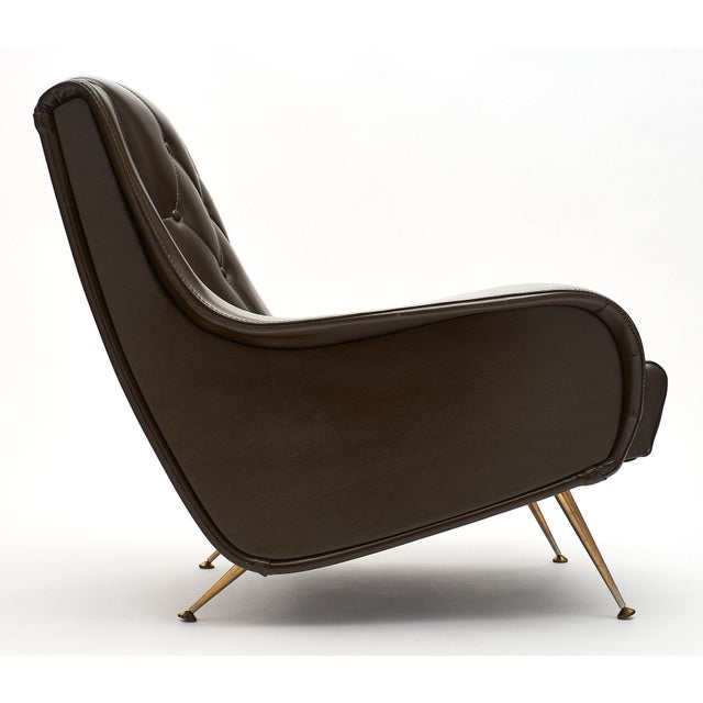 Metal Vintage French Modernist Brown Vinyl Armchairs - a Pair For Sale - Image 7 of 10