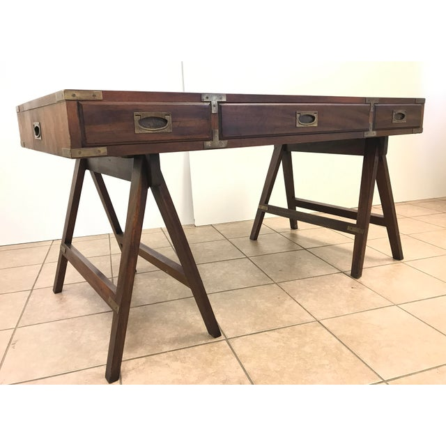 Rosewood Campaign Desk with Leather Top For Sale - Image 4 of 9