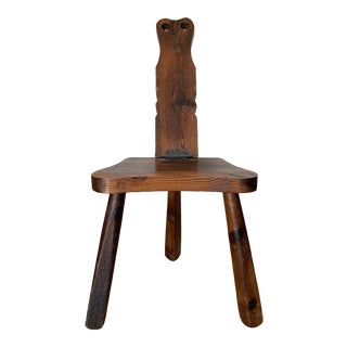 Vintage Primitive Folding Hand Carved Birthing Stool/ Chair For Sale