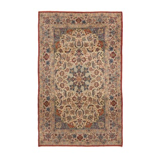 1960s Traditional Isfahan Tan and Red Wool-Silk Persian Rug For Sale