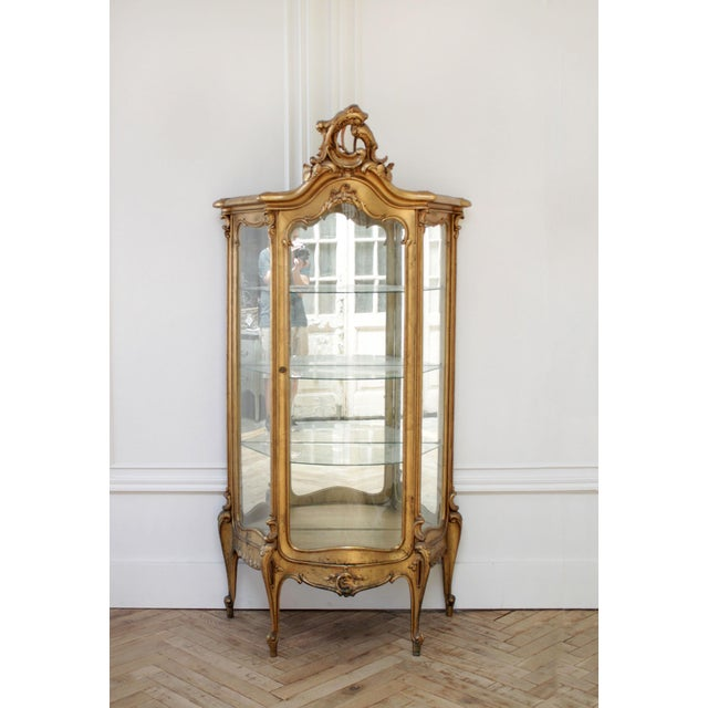 Early 20th Century Louis XV Style Giltwood Carved Vitrine Display For Sale - Image 12 of 12