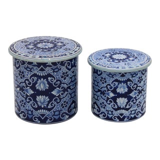Floral Blue and White Delft Tole Lidded Nesting Canisters - a Pair For Sale