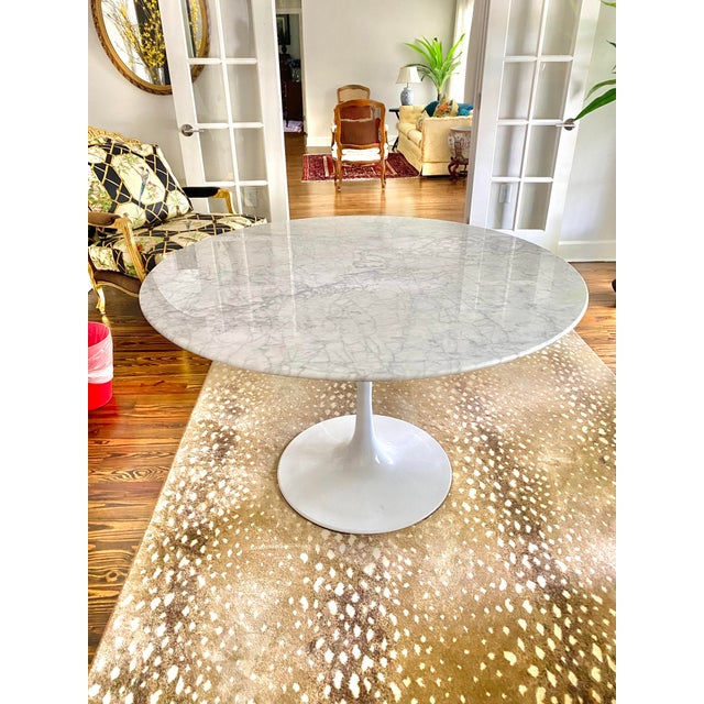 """Carrara Marble 48"""" Round Tulip Table For Sale In Tampa - Image 6 of 6"""