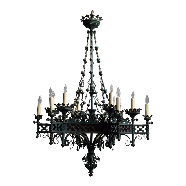 Antique chandelier, Gothic Revival period For Sale - Exquisite Antique Chandelier, Gothic Revival Period DECASO