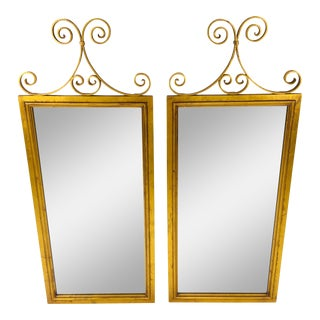 1960s Mid-Century Gold Leaf Mirrors – a Pair For Sale